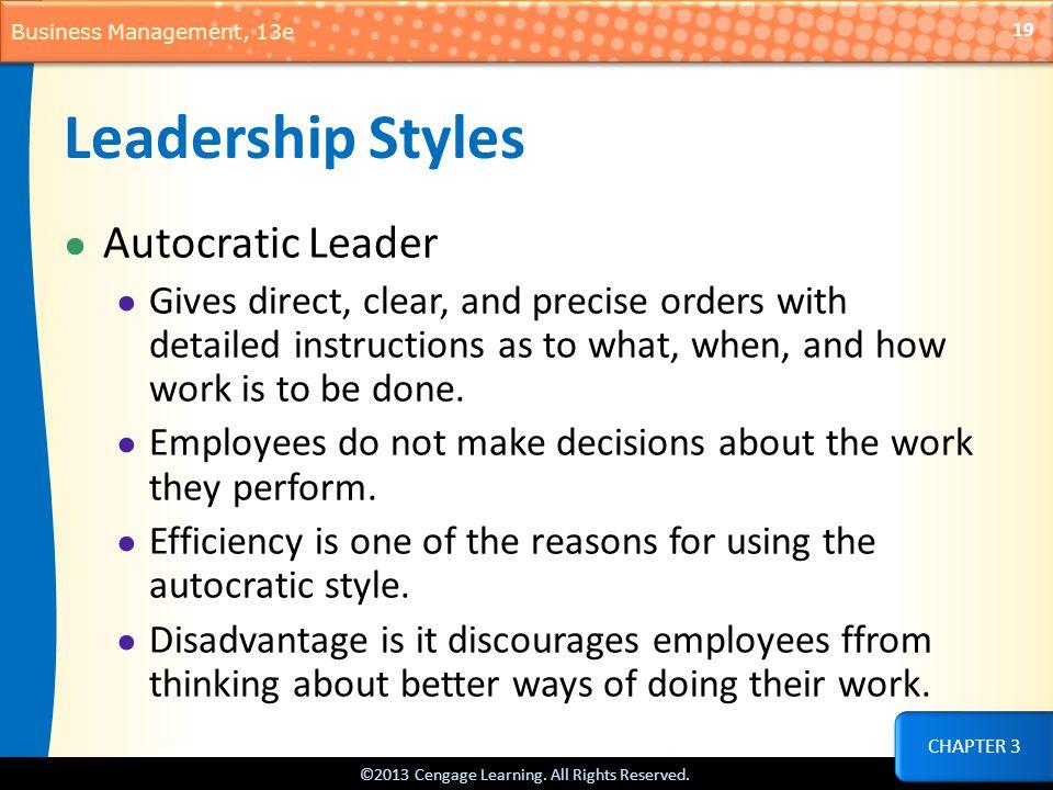 Leadership Styles Autocratic Leader