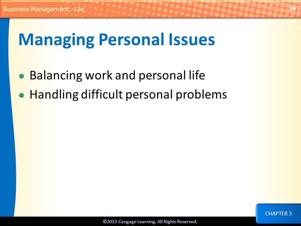 Managing Personal Issues