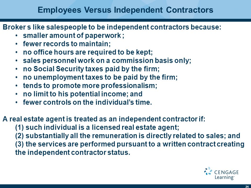 Texas real estate law 11e charles j jacobus ppt download employees versus independent contractors platinumwayz