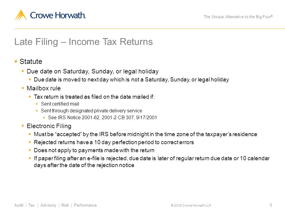 late filing of income tax