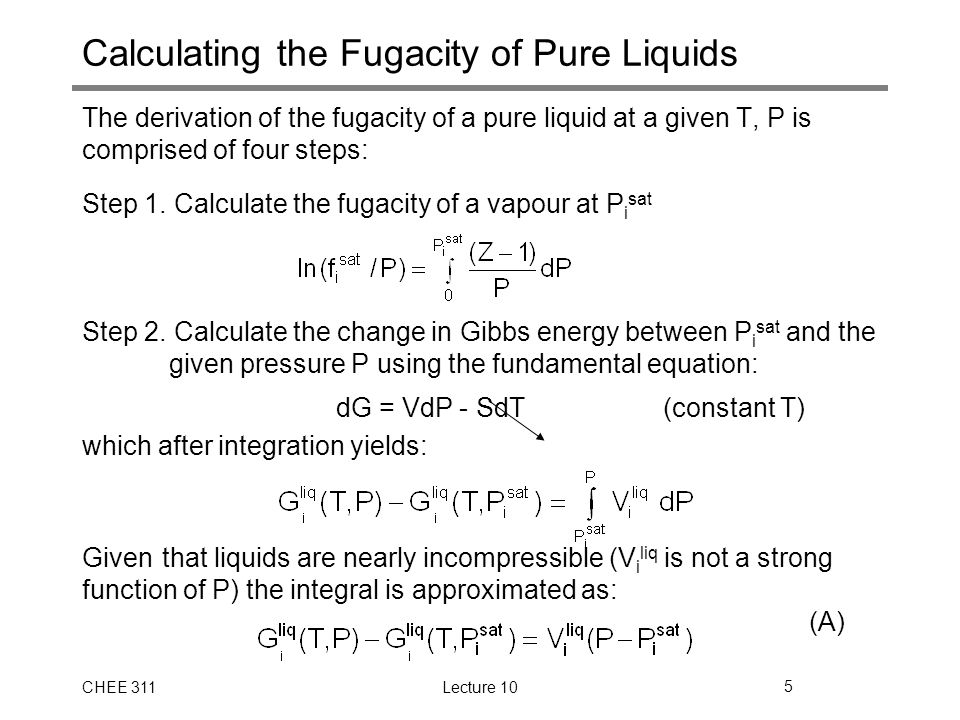Pure Component VLE in Terms of Fugacity - ppt download