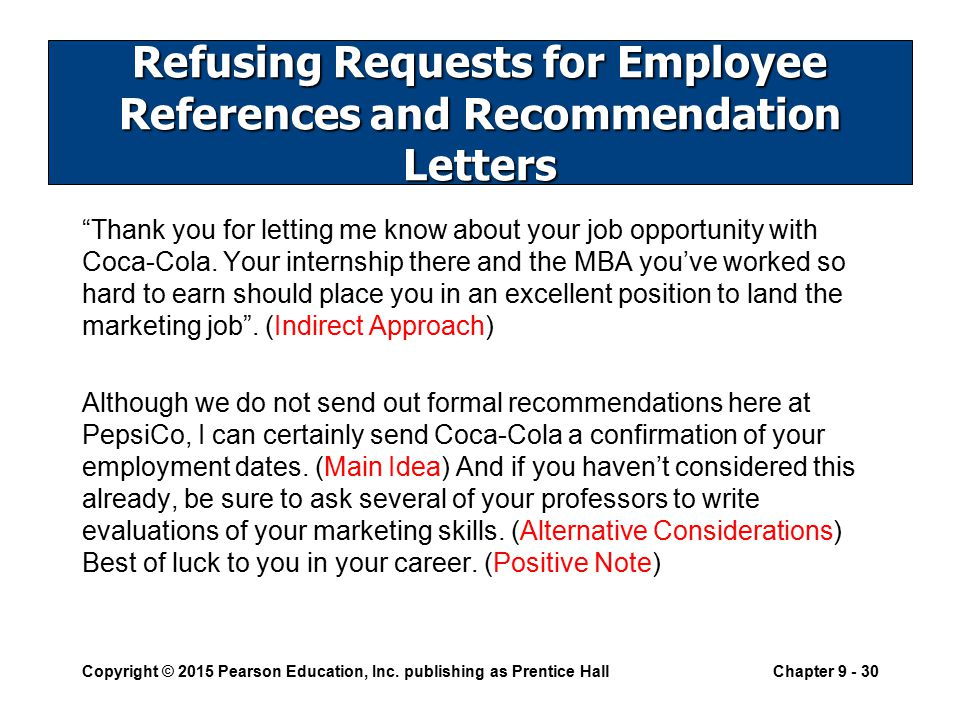 Writing negative messages ppt download refusing requests for employee references and recommendation letters spiritdancerdesigns Choice Image