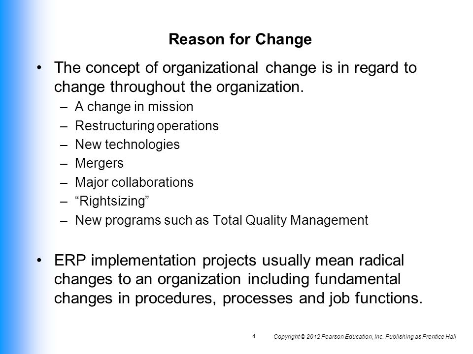 ORGANIZATIONAL CHANGE AND BUSINESS PROCESS REENGINEERING Ppt - Changes in us employment international mapping pearson education inc