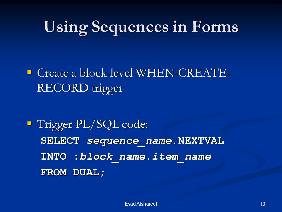 Using Sequences in Forms