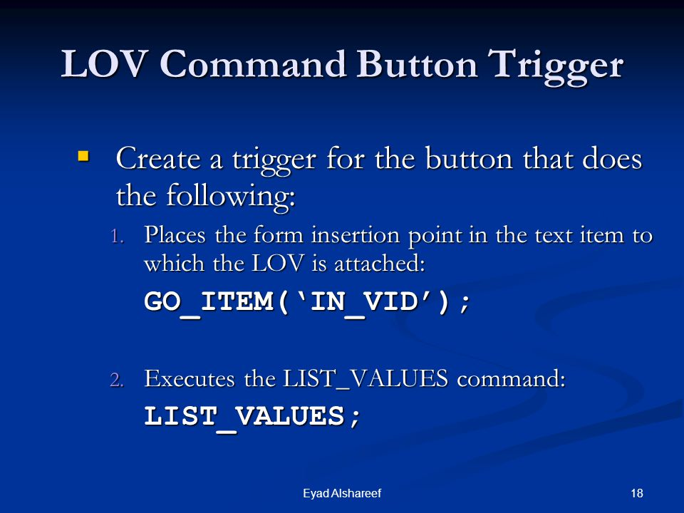 LOV Command Button Trigger