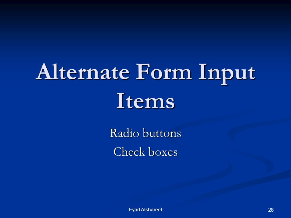 Alternate Form Input Items