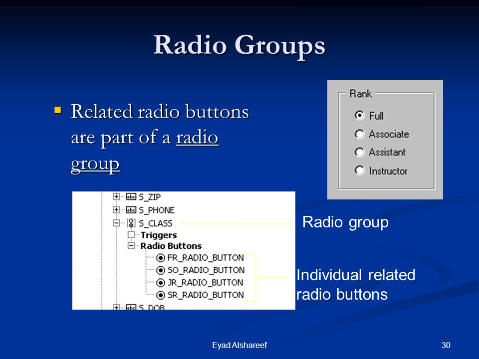 Radio Groups Related radio buttons are part of a radio group