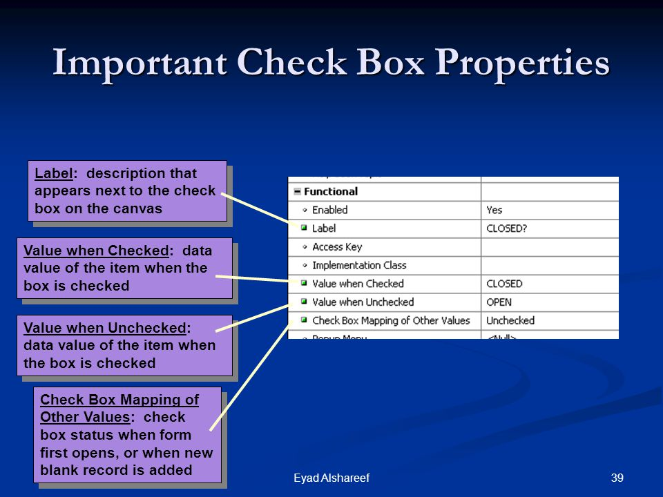 Important Check Box Properties