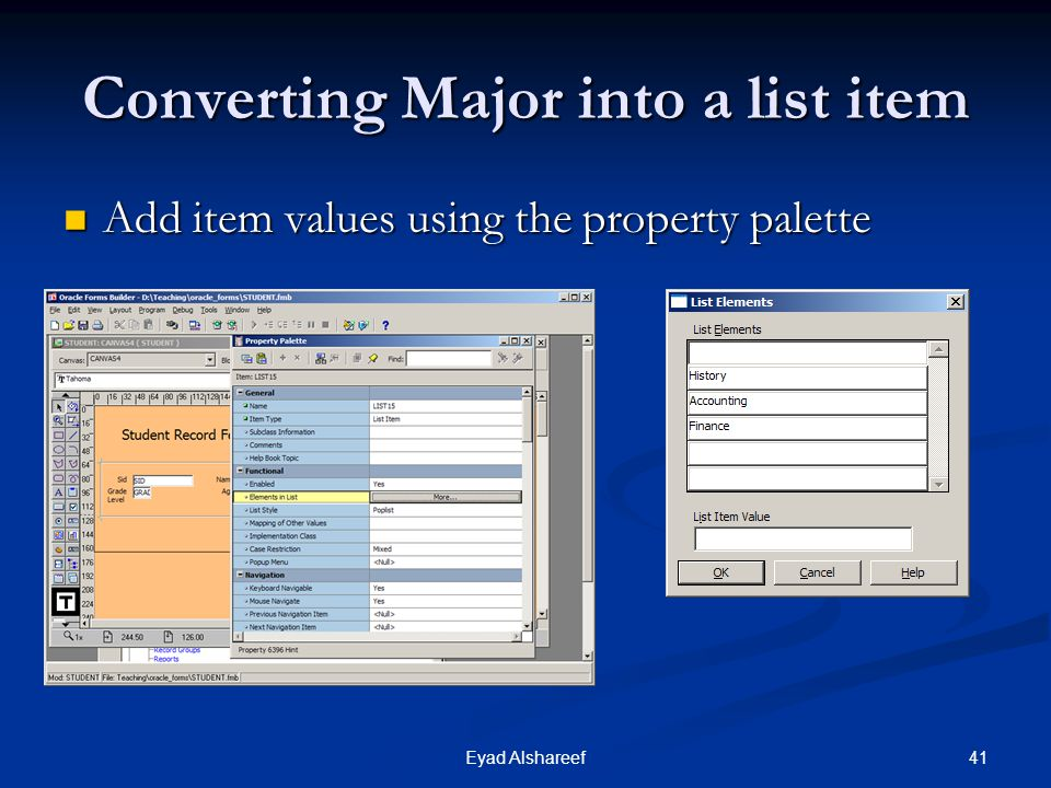 Converting Major into a list item