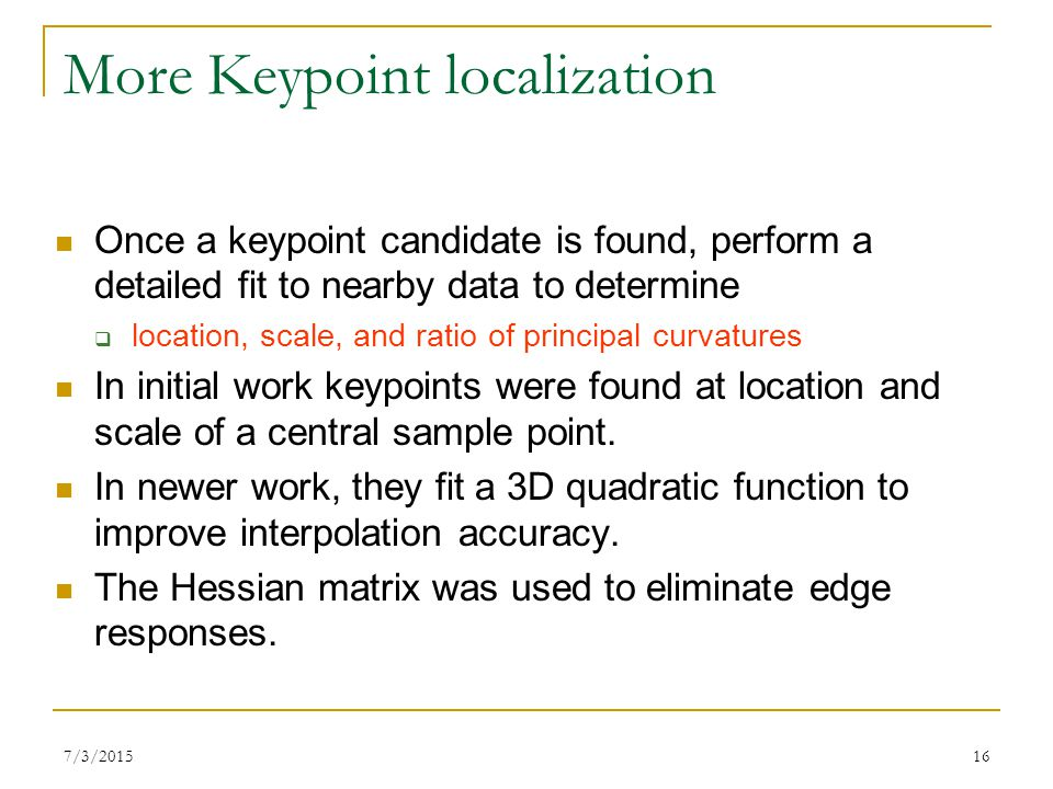 More Keypoint localization