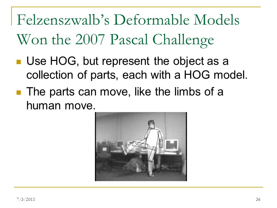 Felzenszwalb's Deformable Models Won the 2007 Pascal Challenge