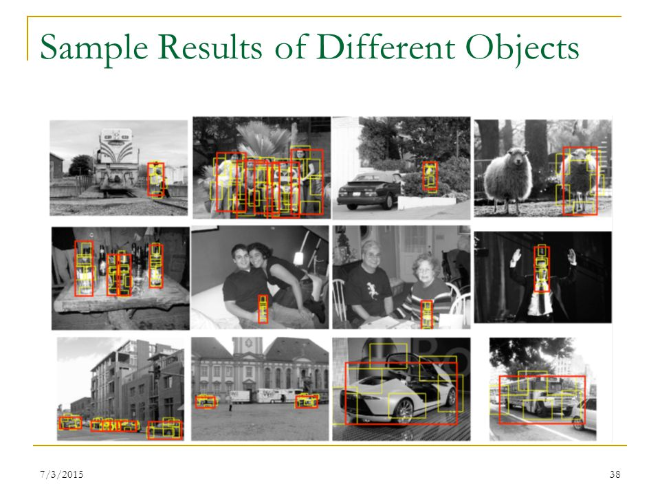 Sample Results of Different Objects