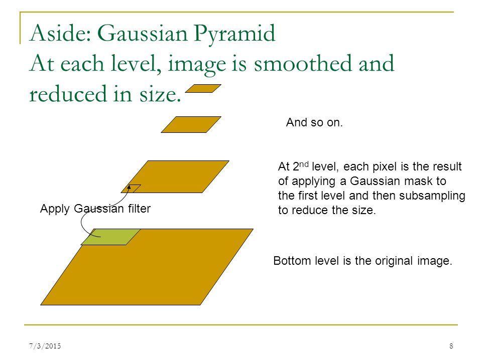 Aside: Gaussian Pyramid At each level, image is smoothed and reduced in size.