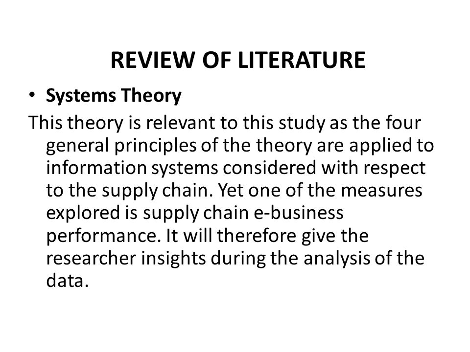 general engineering principles and systems theory Literature in systems theory and it is hard to do justice to all of it  same  principles that allowed mechanical engineers to design thermostats for air- conditioning.