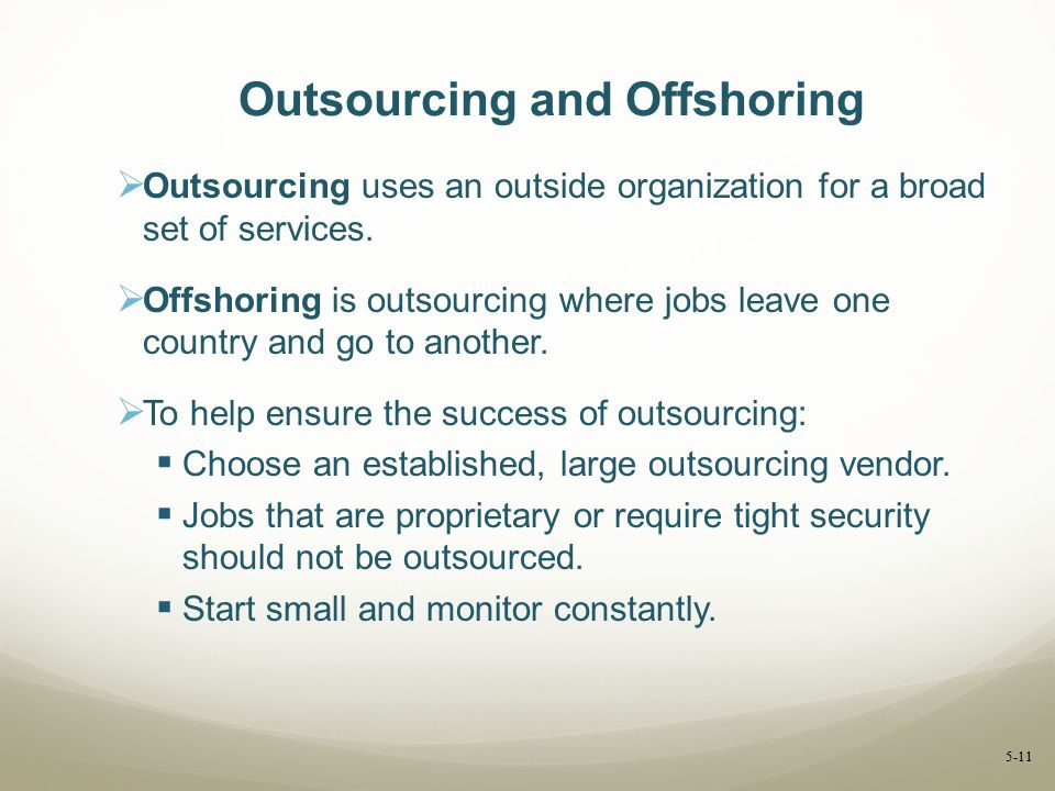 Outsourcing and Offshoring