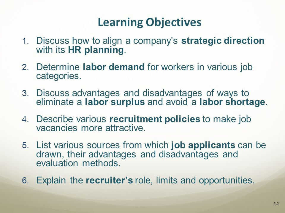 Learning Objectives Discuss how to align a company's strategic direction with its HR planning.