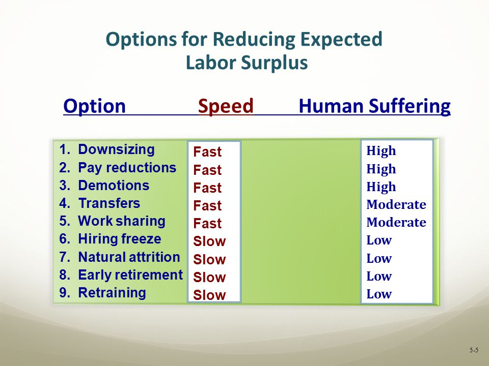 Options for Reducing Expected Labor Surplus