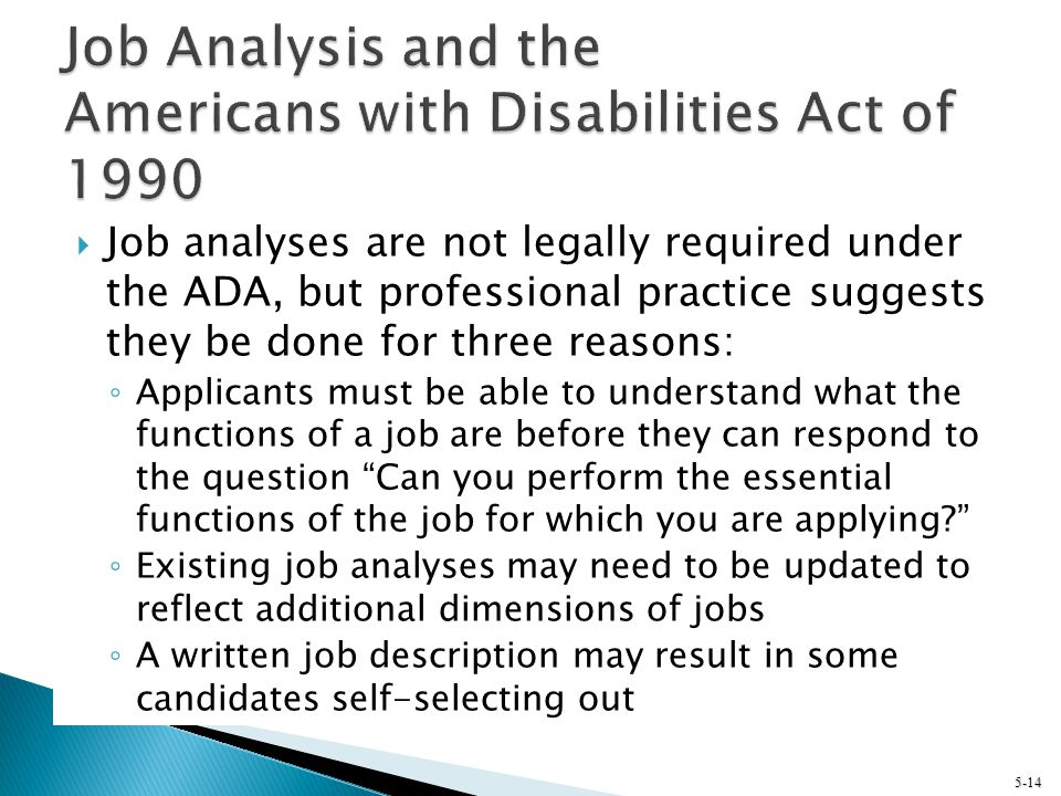 Job Analysis and the Americans with Disabilities Act of 1990