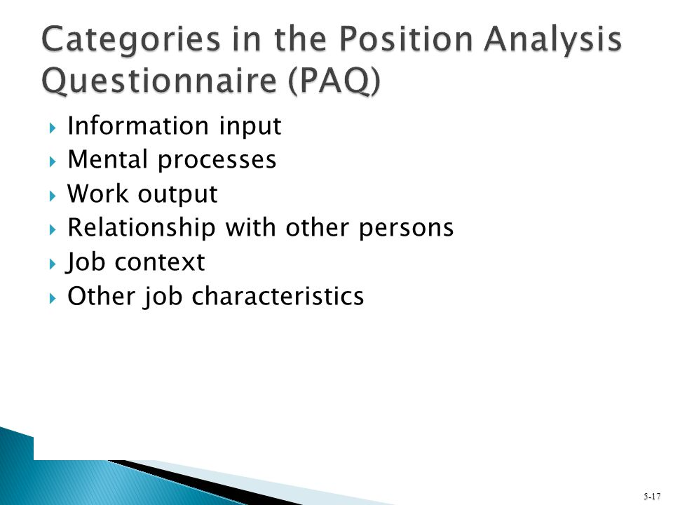 Categories in the Position Analysis Questionnaire (PAQ)