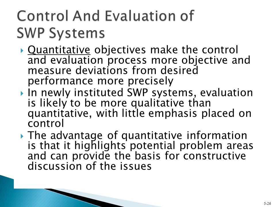 Control And Evaluation of SWP Systems