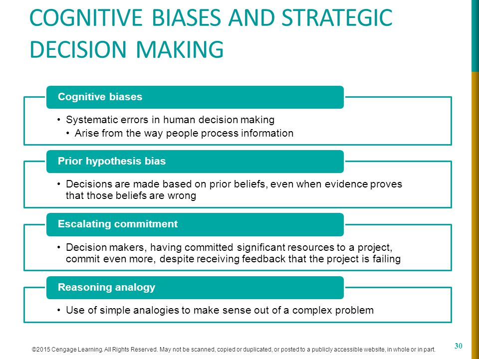 decision making and cognitive biases As discussed in the lecture, it is not the case that evolution always leads to optimal decision making humans have many 'cognitive biases', that make us consistently deviate from an accurate perception of the world, and therefore from optimal decision making.