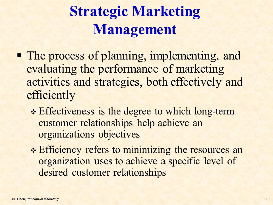 strategic marketing management Marketing strategy is a long-term, forward-looking approach to planning with the fundamental goal achieving a sustainable competitive advantage strategic planning.
