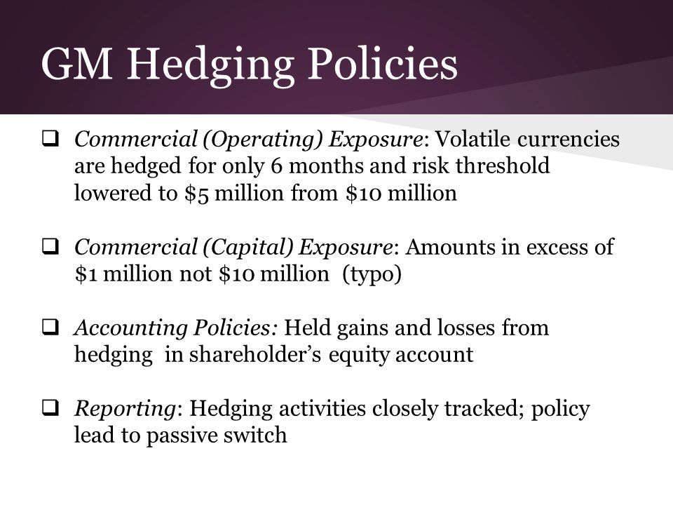 Foreign Exchange Hedging Strategies at General Motors Essay
