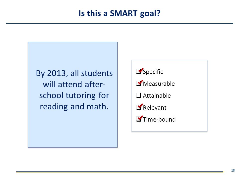 Is this a SMART goal By 2013, all students will attend after-school tutoring for reading and math.