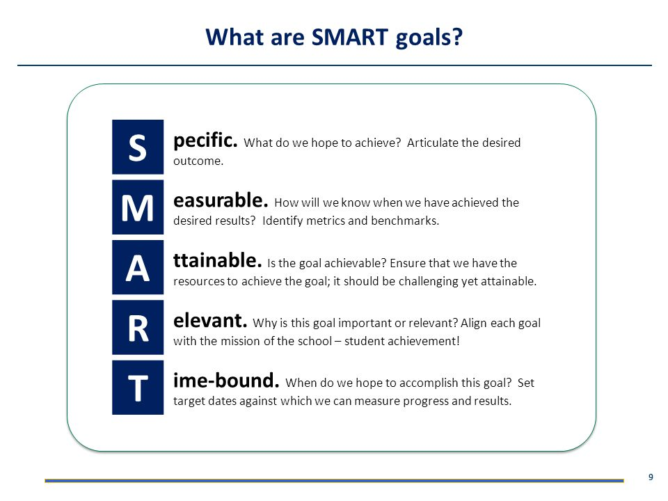 S M A R T What are SMART goals