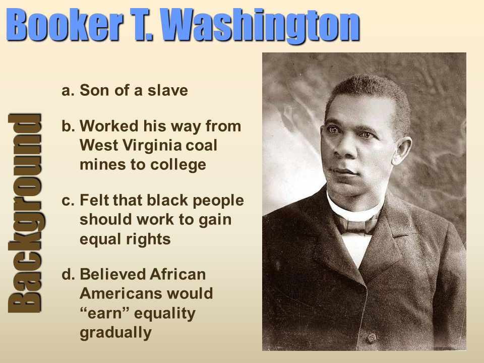 Booker T. Washington Background Son of a slave
