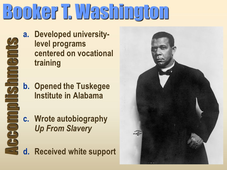 an analysis of the work by mr booker t washington an educatior on the topic of black people It became a powerhouse of african-american education and compare the visions for african americans of booker t washington  for black people, african american.