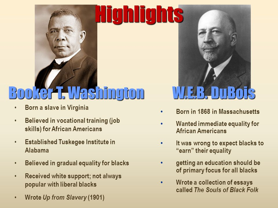 Highlights Booker T. Washington W.E.B. DuBois Born a slave in Virginia