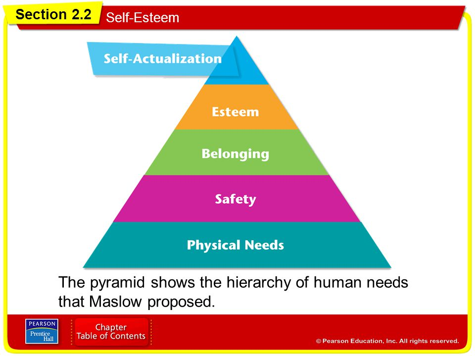 The pyramid shows the hierarchy of human needs
