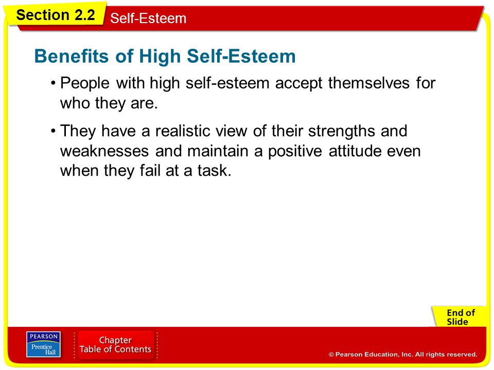 Benefits of High Self-Esteem