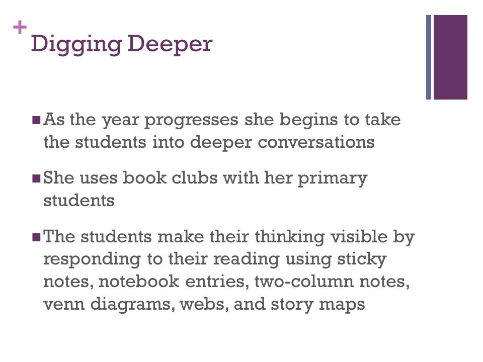 Digging Deeper As the year progresses she begins to take the students into deeper conversations. She uses book clubs with her primary students.