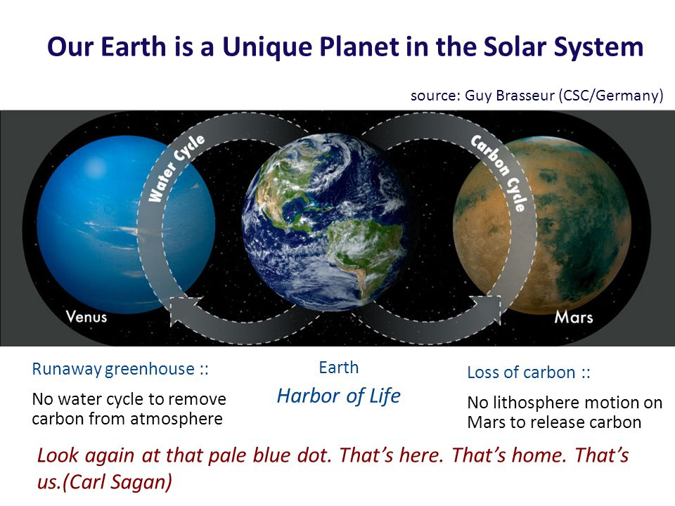 Our Earth is a Unique Planet in the Solar System