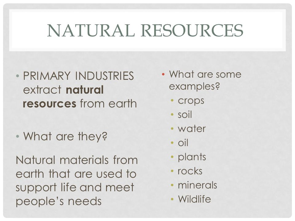 natural resources primary industries extract natural resources from earth what are some examples