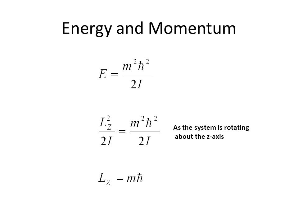 Energy and Momentum As the system is rotating about the z-axis