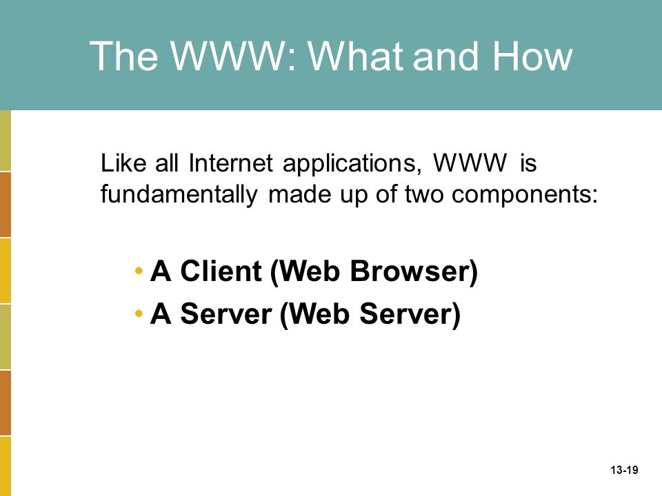 The WWW: What and How A Client (Web Browser) A Server (Web Server)