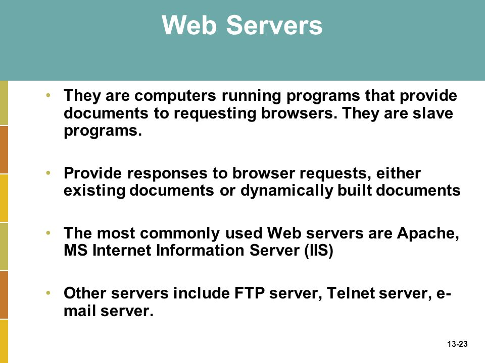 Web Servers They are computers running programs that provide documents to requesting browsers. They are slave programs.