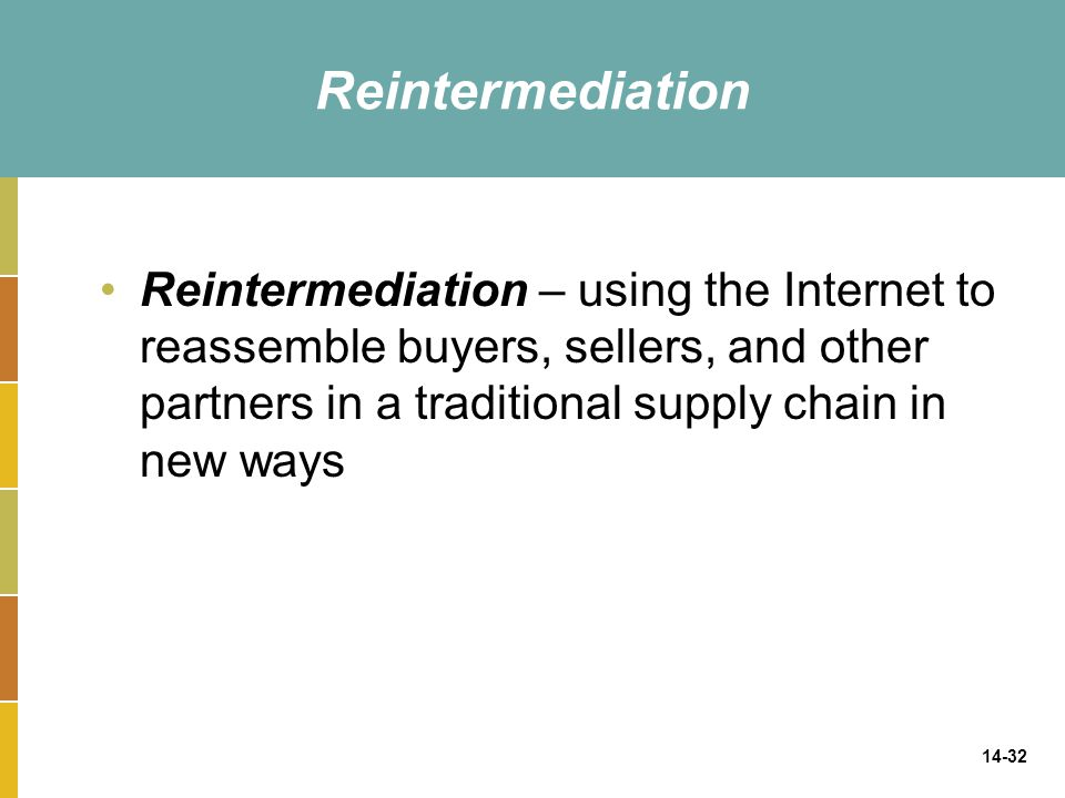Reintermediation Reintermediation – using the Internet to reassemble buyers, sellers, and other partners in a traditional supply chain in new ways.