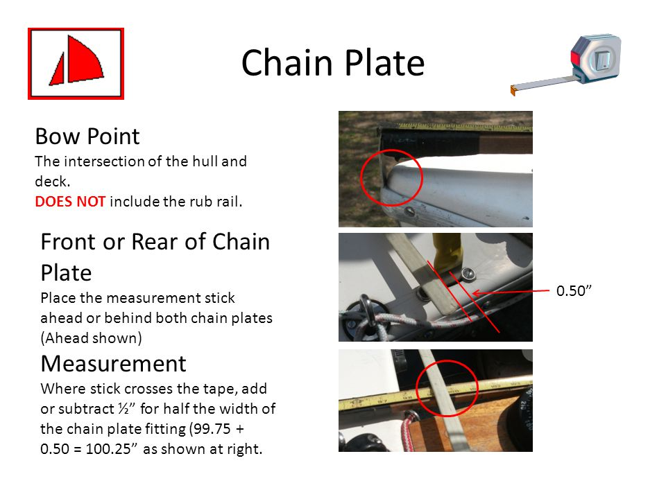 Chain Plate Bow Point Front or Rear of Chain Plate Measurement