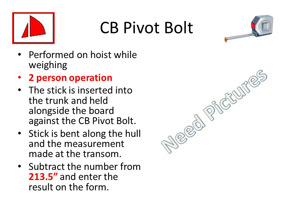 Need Pictures CB Pivot Bolt Performed on hoist while weighing