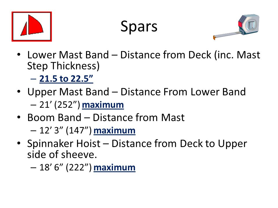 Spars Lower Mast Band – Distance from Deck (inc. Mast Step Thickness)