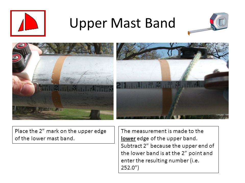 Upper Mast Band Place the 2 mark on the upper edge of the lower mast band.