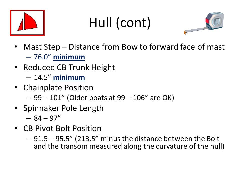 Hull (cont) Mast Step – Distance from Bow to forward face of mast