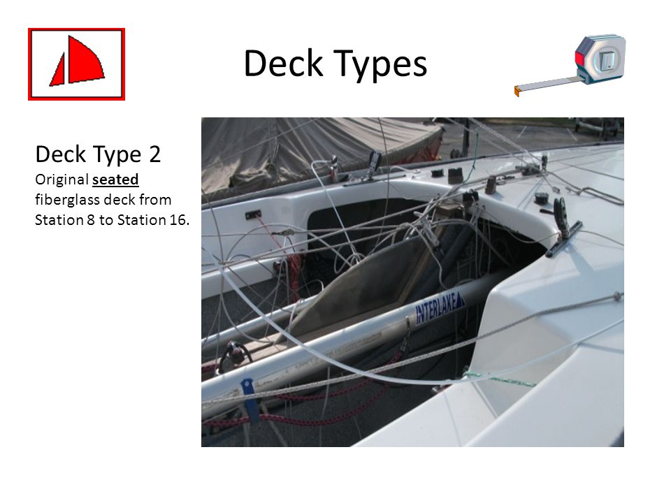 Deck Types Deck Type 2 Original seated fiberglass deck from Station 8 to Station 16.