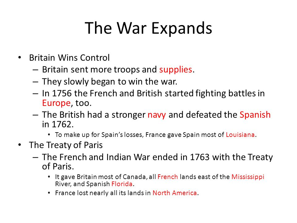 The War Expands Britain Wins Control
