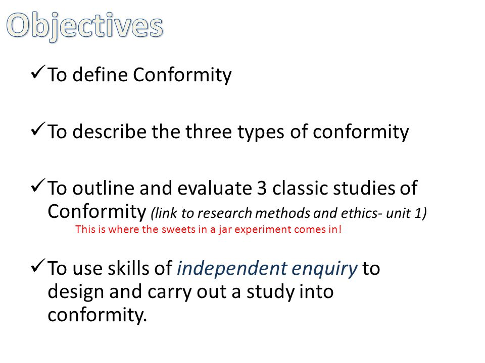 conformity is a type of social Social conformity can be viewed as an  below is one definition of conformity: conformity definition conformity reflects a behavior that is a response to a perceived group pressure conformity examples what are some examples of conformity  there should be rules about the type of comments in the discussion possible reasons for conformity.