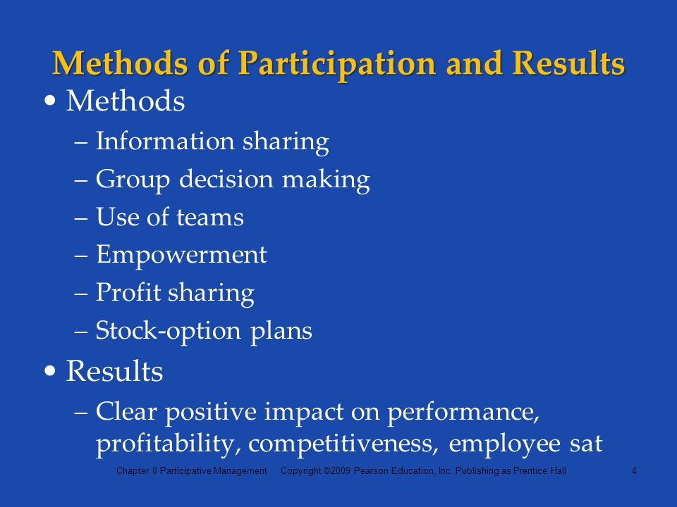 Methods of Participation and Results